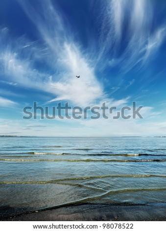 Waterscape of Baltic sea in Estonia. - stock photo