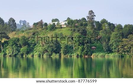waterside landscape around Rwenzori Mountains in Uganda (Africa) - stock photo
