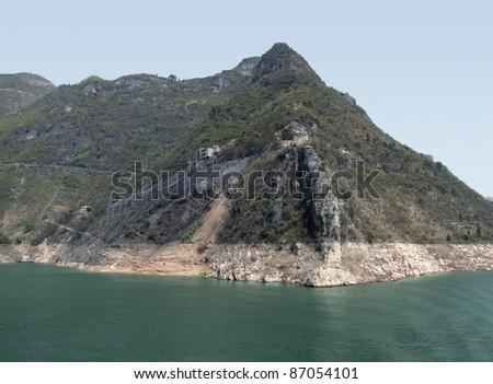 waterside scenery along the Yangtze River in China - stock photo