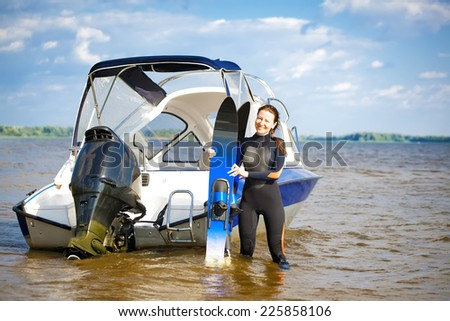 waterskiing - stock photo