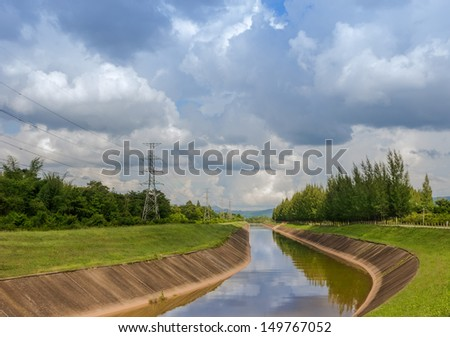 waterway in coal power plants. lampang north of thailand. - stock photo