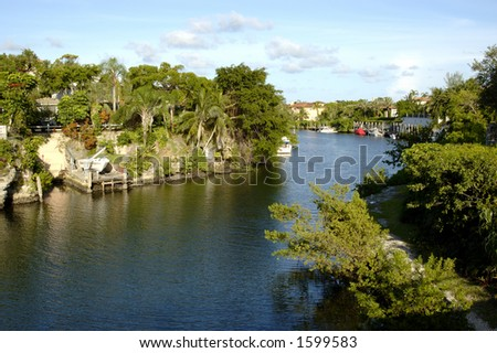 Waterway in Coral Gables Florida - stock photo