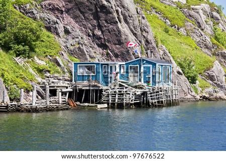 Waterway leading to the ocean at Quidi Vidi (part of St. John's), Newfoundland, Canada. - stock photo