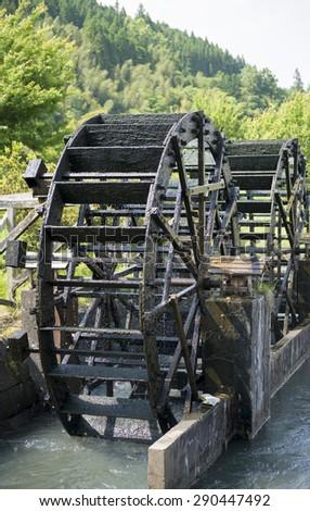 Waterwheel, oita-prefecture japan - stock photo