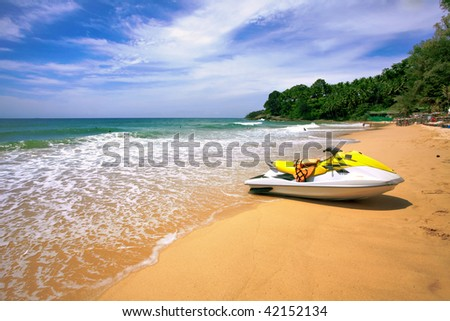 Watre scooter on the beach. Phuket island. Thailand - stock photo