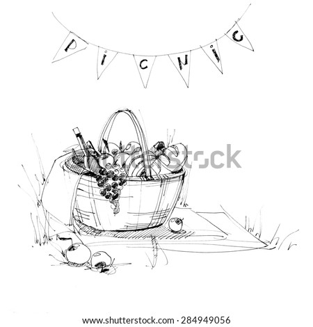 Wattled Picnic Basket on the Plaid with Food. Drawing sketch ink. Illustration isolated on white - stock photo