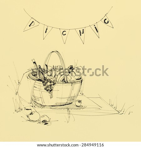 Wattled Picnic Basket on the Plaid with Food. Drawing sketch ink. Toned Illustration. Invitation for  Picnic Party - stock photo