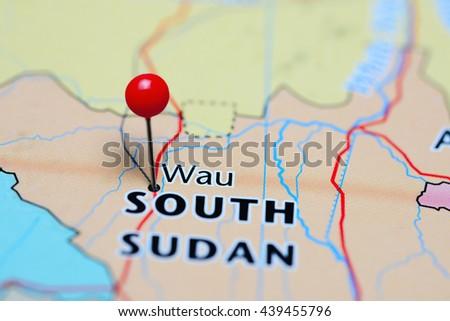 Wau pinned on a map of South Sudan  - stock photo