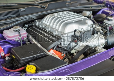 Waupun, WI - 8 March 2016:  An engine to the Dodge Challenger Hellcat that is supercharged and creates 707 horsepower. - stock photo