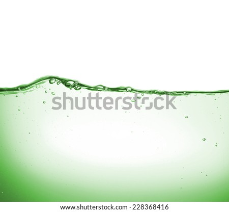 Wave and bubbles in clean drinking water