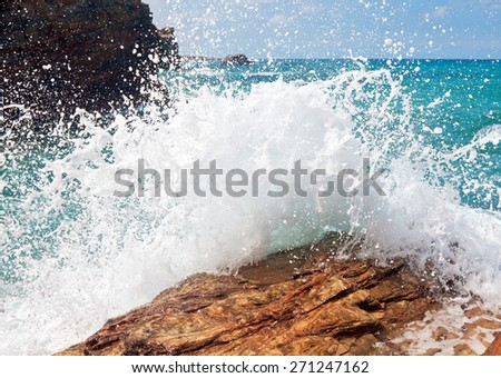 wave and splashes on beach of cathedrals in ribadeo, Galicia, Spain - stock photo