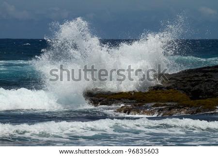 wave (big island hawaii) - stock photo