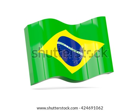 Wave icon with flag of brazil. 3D illustration - stock photo