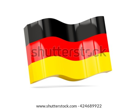 Wave icon with flag of germany. 3D illustration - stock photo