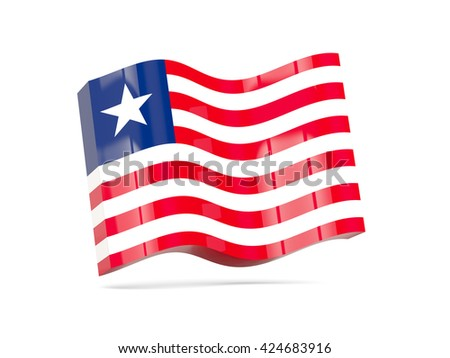 Wave icon with flag of liberia. 3D illustration