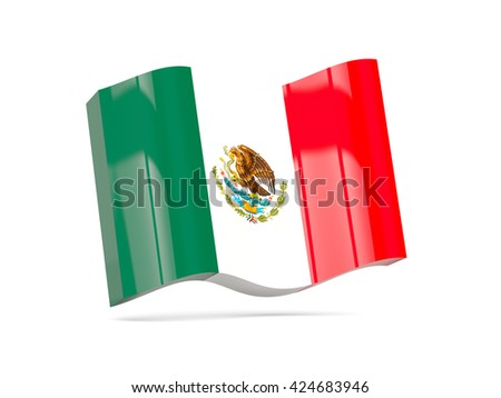 Wave icon with flag of mexico. 3D illustration - stock photo