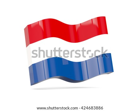 Wave icon with flag of netherlands. 3D illustration - stock photo