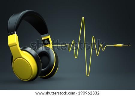 Wave impulse headphones concept. - stock photo