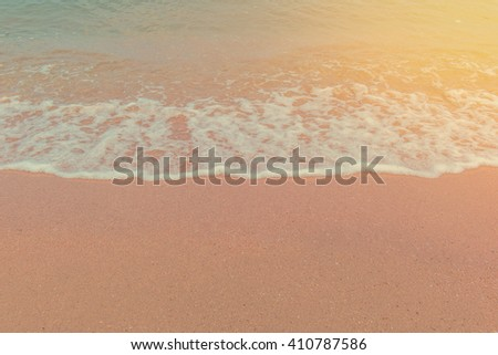 wave of sea on Tropical beach in Andaman Thailand.