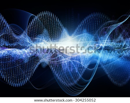 Wave of Sound series. Design composed of sine waves and fractal elements as a metaphor on the subject of science, education and technology - stock photo