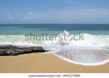 Wave of the sea on the sand beach and Ocean Tree Timber,Beautiful beach at Phuket, Thailand - stock photo