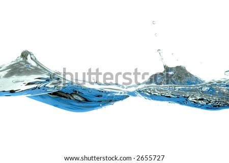 wave of water isolated on white background - stock photo