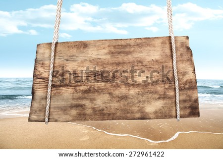 wave on beach and desk  - stock photo