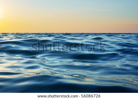 Wave on sunset. Nature composition. Element of design. - stock photo