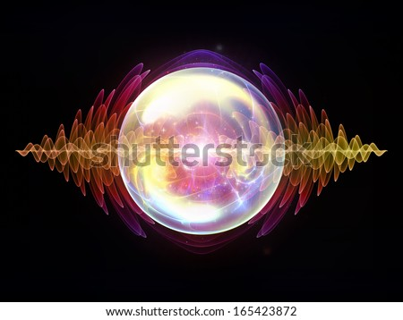 Wave Particle series. Artistic background made of fractal spherical patterns and conceptual elements for use with projects on science, technology, spirituality and design - stock photo