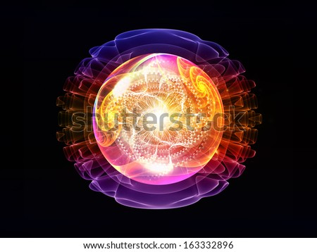 Wave Particle series. Composition of fractal spherical patterns and conceptual elements with metaphorical relationship to science, technology, spirituality and design - stock photo