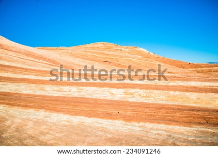 Wave pattern in the canyon located at Valley of Fire state park. - stock photo