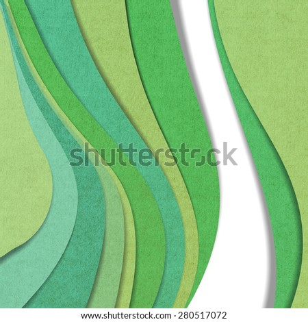 Wave recycled paper craft on white background, Green color - stock photo