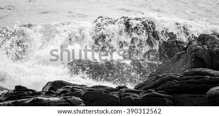 Wave rock and blue sea in Thailand - stock photo