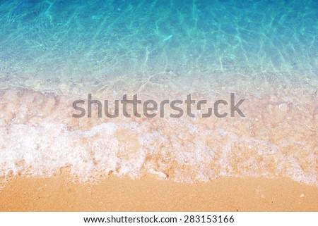 Wave & Sand beach background - stock photo