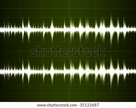 Wave Sound on the green screen - stock photo