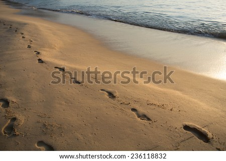 wave washes away the traces of golden sand. evening sun reflected in water - stock photo
