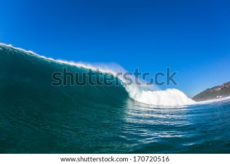 Wave Water Swim Angle Swimming perspective view angle  of large ocean wave rolling crashing forwards towards shallow reefs