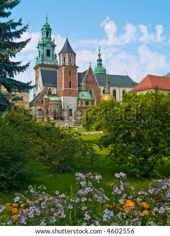 Wavel Castle Cathedral and the park in Cracow, Poland - stock photo