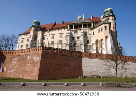 Wavel Castle in a city of Krakow, Poland - stock photo