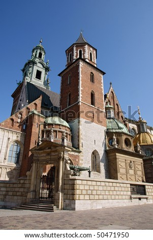 Wavel Cathedral in a city of Krakow, Poland - stock photo