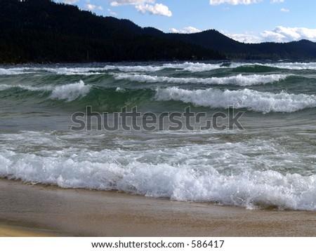 Waves at Sand Harbor - Lake Tahoe - Nevada - stock photo