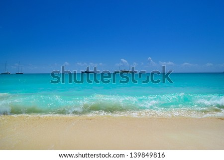 Waves Crashing into a Beautiful Tropical Caribbean Island Beach