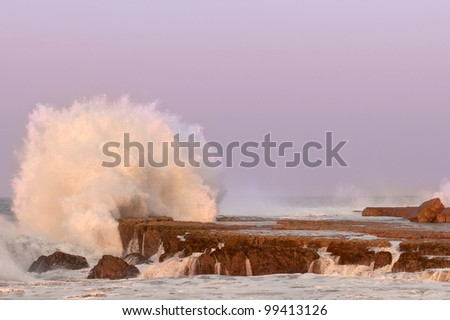 waves crashing on eastern cape coastline