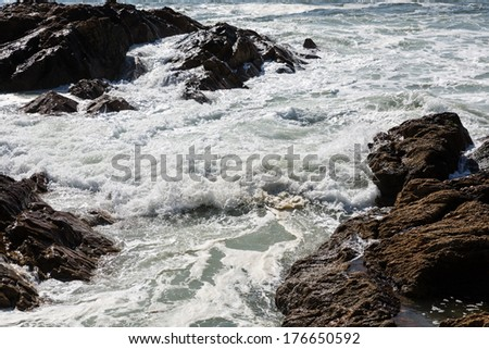 waves crashing over Portuguese Coast
