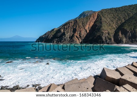 Waves hit rocky northern coast of La Gomera island, Canary Islands, Spain