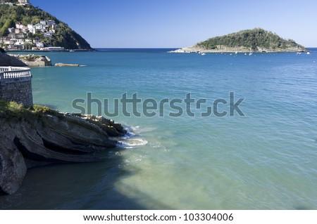 waves in Ondarreta beach, La Concha Bay, San Sebastian, Guipuzcoa, Basque Country, Spain - stock photo