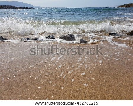 Waves in the ocean and sand on the beach