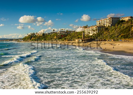 Waves in the Pacific Ocean and view of the beach in San Clemente, California. - stock photo