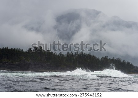 Waves in the Pacific Ocean, Skeena-Queen Charlotte Regional District, Haida Gwaii, Graham Island, British Columbia, Canada - stock photo