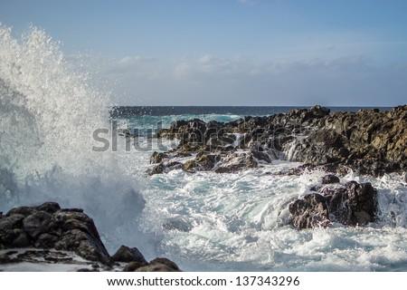Waves of atlantic ocean in Tenerife, Canary Islands, Spain - stock photo
